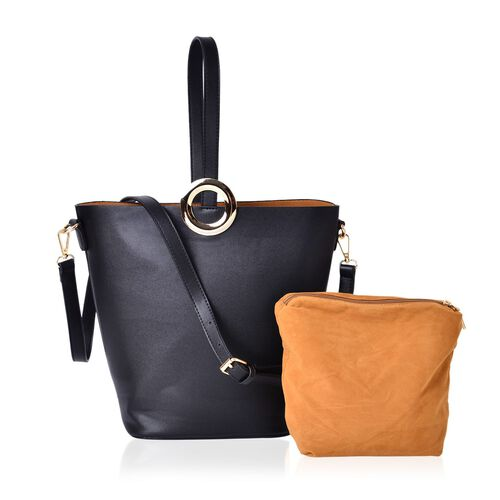 2 Piece Set - Black Colour Large Size Handbag with Adjustable and Removable Shoulder Strap (Size 33x28x21x13 Cm) and Mustard Colour Small Handbag (Size 22x18x15x10 Cm)