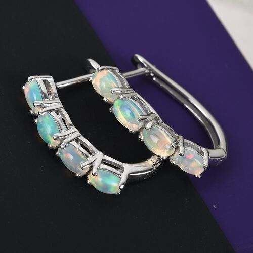 Ethiopian Welo Opal (Ovl) Hoop Earrings (with Clasp Lock) in Platinum Overlay Sterling Silver 1.350 Ct.