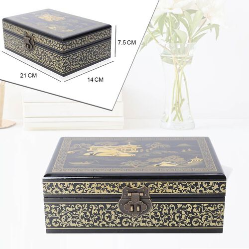 2 - Layer Landscape Pattern Jewellery Box with Inside Mirror and Removable Tray (Size 21x14x7.5 Cm) - Black