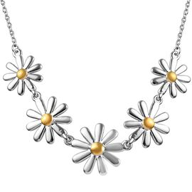 Platinum and Yellow Gold Overlay Sterling Silver Floral Necklace (Size 18), Silver wt 7.78 Gms