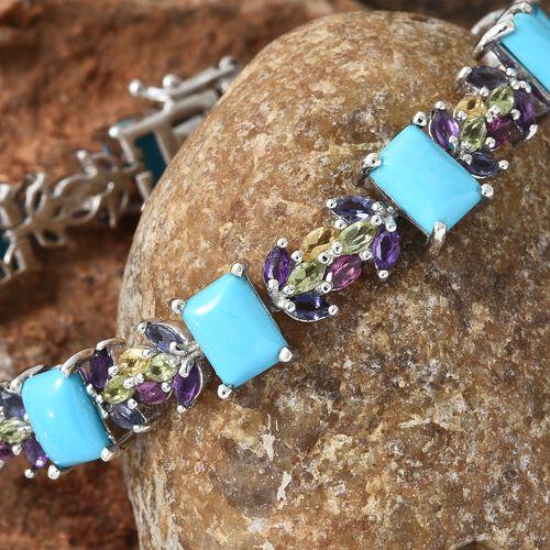 Arizona Sleeping Beauty Turquoise (Bgt), Rhodolite Garnet, Hebei Peridot and Multi Gemstone Bracelet (Size 7.5) in Platinum Overlay Sterling Silver 18.500 Ct. Silver wt 19.10 Gms.