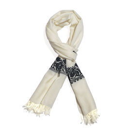 One Time Deal-100% Merino Wool Black and White Colour Floral and Paisley Embroidered Shawl with Tass
