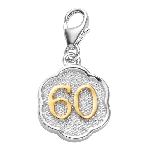 60 Birthday Anniversary Charm in Platinum and Yellow Gold Overlay Sterling Silver