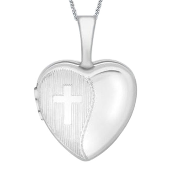 9K White Gold Heart Locket Pendant