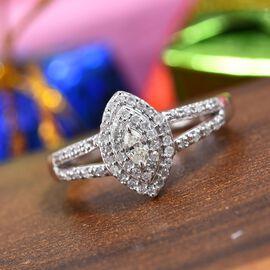 0.33 Ct Diamond Cluster Ring in 14K White Gold 4.09 Grams SGL Certified I1 I2 GHI