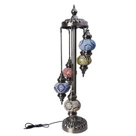 Handmade 5 Ball Turkish Mosaic Crystal Studded Table Lamp (Size 26x115 Cm) - Blue and Multi