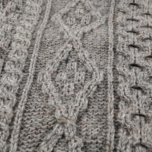 ARAN 100% Pure New Wool Sweater (Size S) - Grey