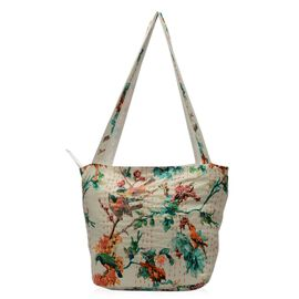 100% Cotton Kantha Embroidered Floral Pattern Hand Bag with Zip Closure (Size 33x16x36 Cm) - Multico
