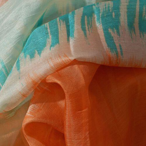 100% Mulberry Silk Orange and Multi Colour Printed Scarf (Size 175x100 Cm)