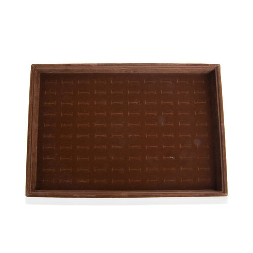 Coffee Colour 100 Pcs Velvet Ring Tray with Removable Cover (Size 35x24x4.20 Cm)