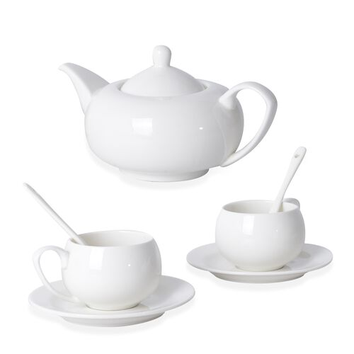 TEA FOR TWO- 7 Piece Set High Quality Porcelain (Consists 1 Tea Pot/ 2 Mugs/ 2 Saucers/ 2 Spoons)