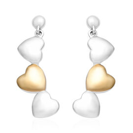 Platinum and Yellow Gold Overlay Sterling Silver Heart Earrings (with Push Back), Silver wt 6.23 Gms