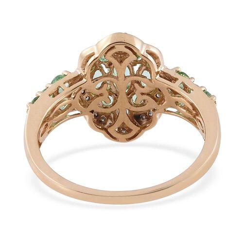 9K Yellow Gold AA Boyaca Colombian Emerald (Mrq), Diamond (I3/G-H) Ring 1.750 Ct.