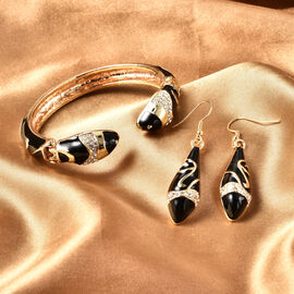 2 Piece Set -  White Austrian Crystal Serpent Black Enamelled Cuff Bangle (Size 7) and Hook Earrings in Gold Tone