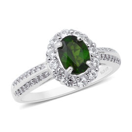 Russian Diopside (Ovl), Natural White Cambodian Zircon Ring (Size X) in Rhodium Overlay Sterling Silver 2.12