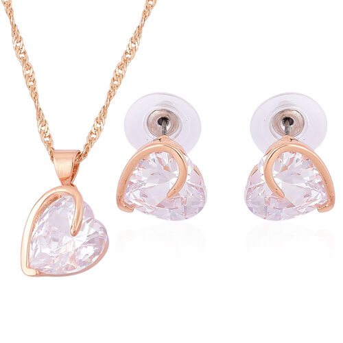 Designer Inspired-AAA Simulated Diamond Heart Design Pendant With Chain (Size 18 with 1.5 inch Extender) and Hook Earrings Gold Plated