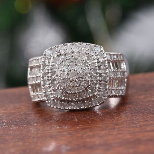 Diamond (Rnd and Bgt) Cluster Ring in Platinum Overlay Sterling Silver 1.00 Ct, Silver wt 6.37 Gms