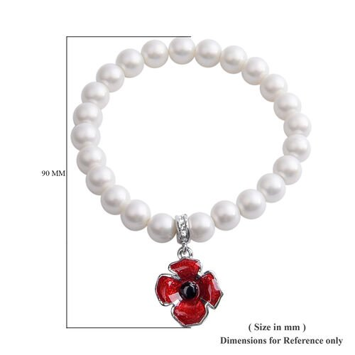 White Shell Pearl, Black and White Austrian Crystal Stretchable Bracelet (Size 6.5)