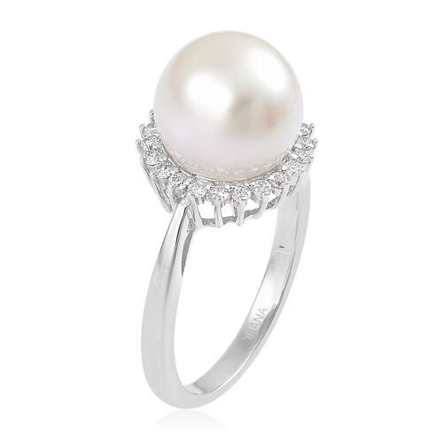 ILIANA 18K Yellow Gold Rare AAAA South Sea White Pearl (Rnd 10-10.5mm) Halo Ring with Diamond SI G-H