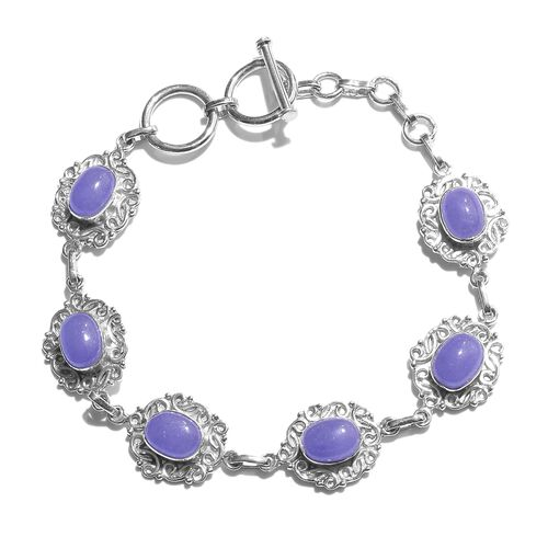 Purple Jade (Ovl) Bracelet (Size 7.5) in Rhodium Plated Sterling Silver 10.000 Ct. Silver wt. 10.30 Gms.