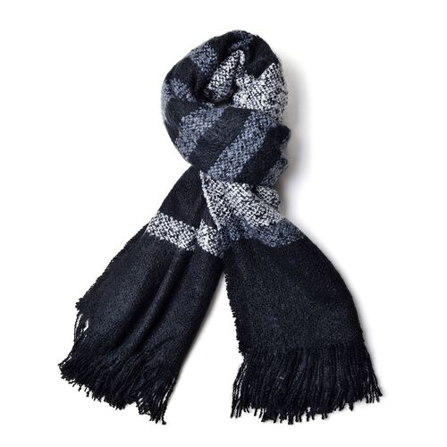 Designer Black and Grey Colour Stripe Pattern Scarf with Fringes (Size 200x70 Cm)