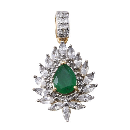 3 Ct AA Kagem Zambian Emerald and Natural White Cambodian Zircon Halo Pendant in 9K Yellow Gold