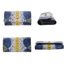 La Marey 100% Genuine Python Leather Snake Print Crossbody Wallet - Yellow & Multi