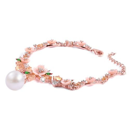 JARDIN COLLECTION - White South Sea Pearl (11-12 mm), Pink Mother of Pearl, Citrine and White Topaz Bracelet (Size 8) in Rose Gold and Rhodium Overlay Sterling Silver 22.270 Ct,