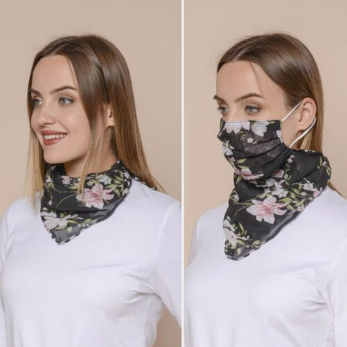 2 in 1 Flower Pattern Chiffon Soft Feel Scarf and Protective Face Covering (Size 45x45 Cm) - Black & Pink