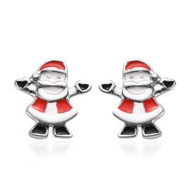 Platinum Overlay Sterling Silver Enamelled Santa Kids Earrings (with Push Back)