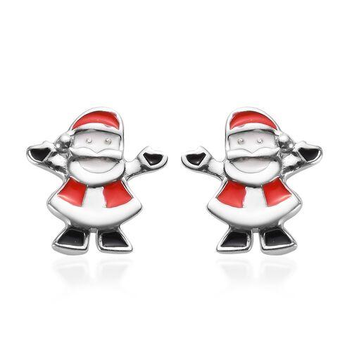 Platinum Overlay Sterling Silver Enamelled Santa Kids Earrings (with Push Back)