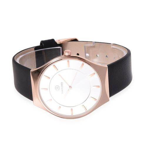 STRADA Slimline Japanese Movement Rose Gold Colour Plated Water Resistant Watch