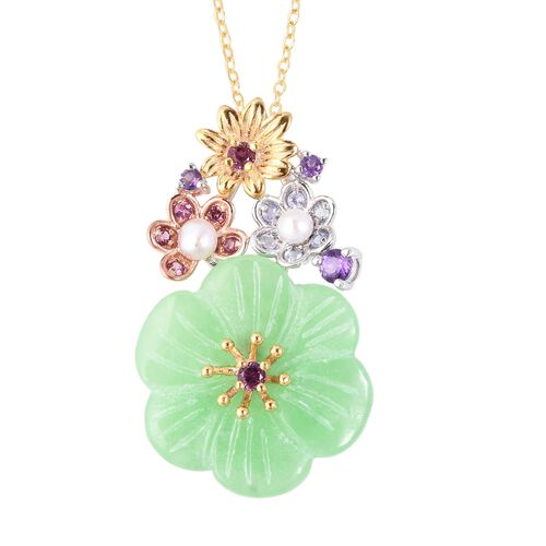 Carved Green Jade and Multi Gemstone Floral Pendant With Chain (Size 18) in Rhodium, Yellow and Rose