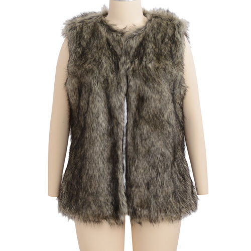Close Out Deal Luxe Super Soft Helson Faux Fur Khaki and Black Colour Gilet