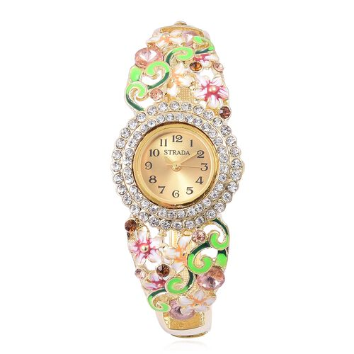 STRADA Japanese Movement Multi Colour Austrian Crystal Pink Colour Enameled Floral Design Bangle Watch in Yellow Gold Tone