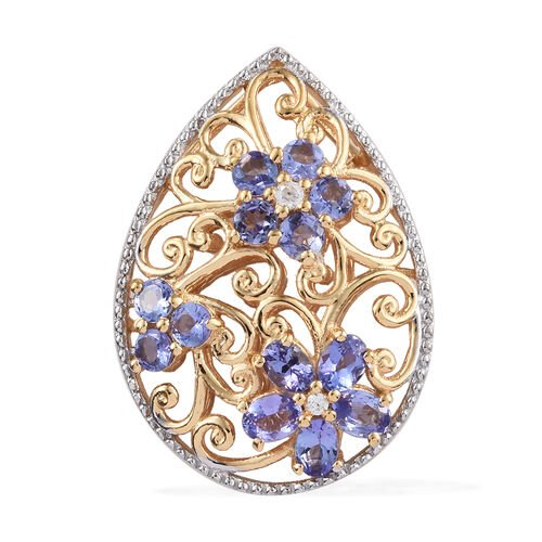 Tanzanite (Ovl and Rnd), Natural Cambodian Zircon Pendant in 14K Gold Overlay Sterling Silver 2.250