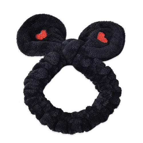 3 Piece Set - Lovely Bowknot Design Headband Non-Stretchable in Heart Pattern (Dia 14 Cm) - Black, Grey and Purple