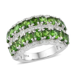 3.50 Ct Russian Diopside and Zircon Eternity Band Ring in Platinum Plated Sterling Silver 5 Grams