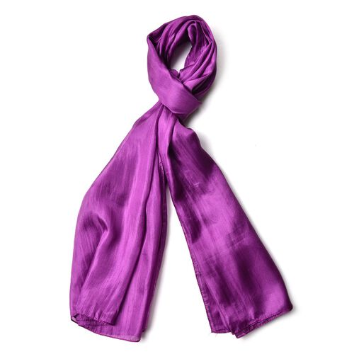 100% Mulberry Silk Purple Colour Scarf (Size 180X100 Cm)