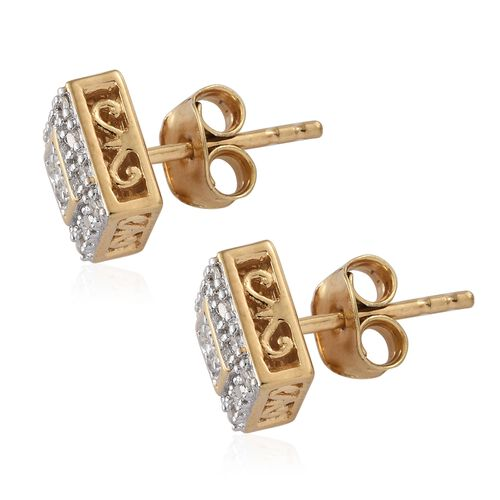 WEBEX- Diamond (Rnd) Stud Earrings (with Push Back) in 14K Gold Overlay Sterling Silver 0.20 Ct.