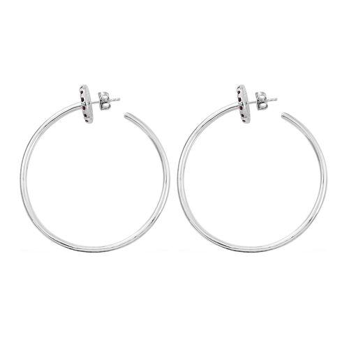 Designer Inspired - Rhodolite Garnet (Rnd) Hoop Earrings in Platinum Overlay Sterling Silver 1.750 Ct, Silver wt 14.50 Gms.