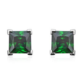 ELANZA Simulated Diopside Solitaire Stud Earrings in Rhodium Plated Sterling Silver