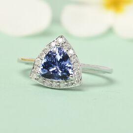9K White Gold Tanzanite and Diamond Ring 1.410 Ct.
