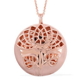 RACHEL GALLEY Rose Gold Overlay Sterling Silver Lotus Pendant with Chain (Size 30), Silver wt 30.40 Gms.