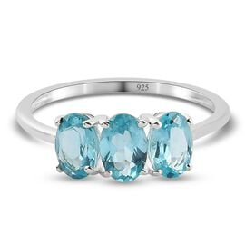 Paraibe Apatite 3-Stone Ring in Sterling Silver 1.54  Ct.