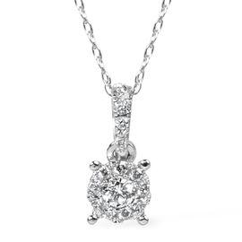 0.14 Ct Diamond Cluster Pendant in 14K White Gold 1.2 Grams