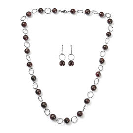 2 Piece Set - Mozambique Garnet Necklace and Hook Earrings in Stainless Steel 29.00 Ct.