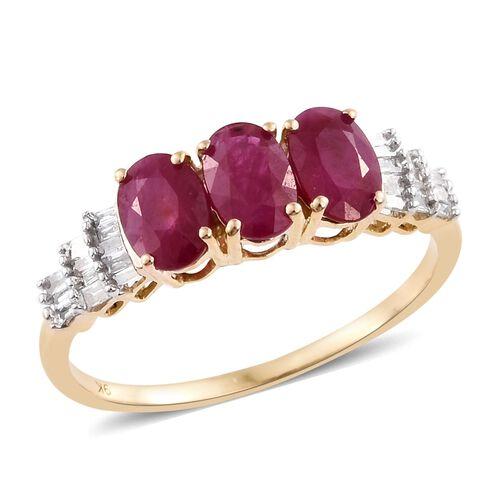 9K Yellow Gold 1.90 Ct Burmese Ruby, Diamond Ring