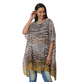 100% Mulberry Silk Kaftan One Size (90x100 Cm) - Brown and White