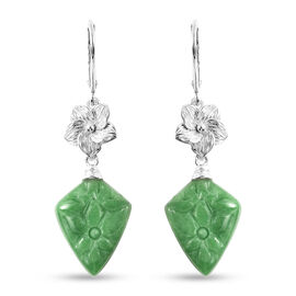 Green Jade Lever Back Earrings in Rhodium Overlay Sterling Silver 14.750 Ct.